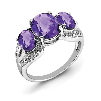 Three Stone Amethyst & .05 Ctw Diamond Sterling Silver Ring
