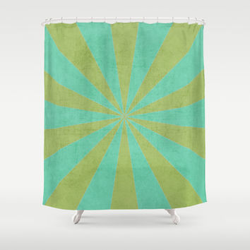 green and mint starburst Shower Curtain by her art