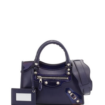 Balenciaga Giant 12 Veau Lisse Mini City Bag, Purple