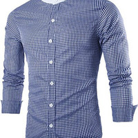 Blue Checked Stand Collar Long Sleeve Shirt