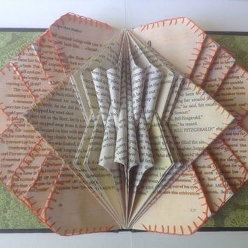 Book Art Folded Book Folded Pages Book Bloom in Orange