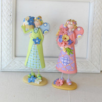 "Pair Garden Angel Figurines Holding Flowers with Flowers in Hair 9""T Pink and Green , Toothpick Legs , Gift for Her"
