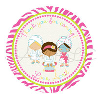 Spa Party sticker Cupcake Topper, Tags,. Birthdays and Baby Shower. Spa printable. Digital file