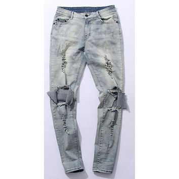 Mens Moto Biker Jeans Boy France Straight Distressed Slim Fit Light Blue Black Hole Denim Pants