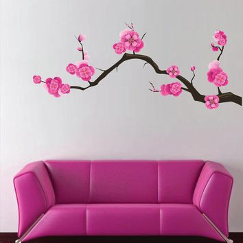 cik1514 Full Color Wall decal beautiful Japanese cherry branch children's bedroom