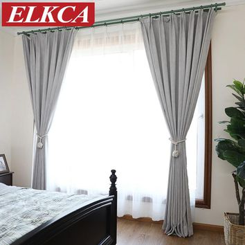 American Solid Color Thick Faux Linen Blackout Curtains for Living Room Colorful Bedroom Curtains Luxury Curtains for Children