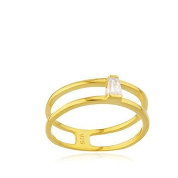 925 Sterling Goldtone Two Row with CZ Stone Ring