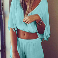Blue Top and Short Co-Ord Set