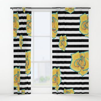 Yellow and Turquoise Rose on Stripes Window Curtains by drawingsbylam