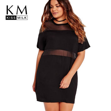 Kissmilk 2017 Big Size Fashion Women Clothing Casual Solid Mesh Patchwork Summer Dress Loose O-Neck Plus Size Dress 4XL 5XL  6XL