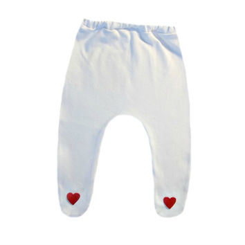 Baby Girl White Tights with Red Hearts