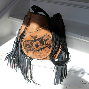 Aztec bat leather bag crossbody festival fringe purse asymmetrical pocket unique painting mexican primitive art southwestern navajo bag