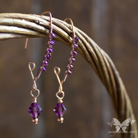 Copper Marquise Earrings w/Amethyst Swarovski Crystals from A Single Dream
