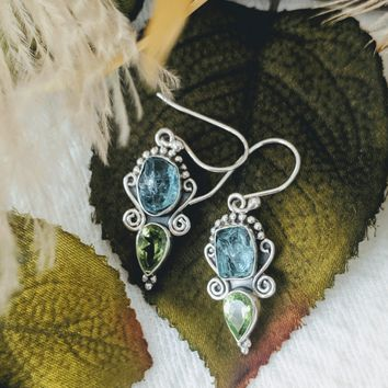 Artisan Crafted Sterling Silver Blue Apatite Peridot Earrings