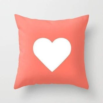 Peach Heart Graphic Cushion Cover