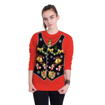 Gift Socks Bells Print Women Christmas Party Sweatshirt