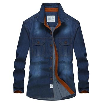 Men shirt long sleeve Patchwork Soft Cotton Retro Blue Jeans