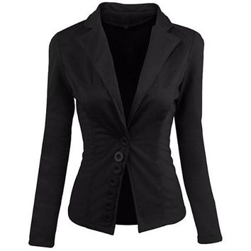 [15028] Regular Blazer With Buttons Accent