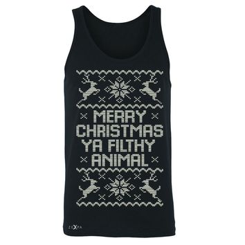 Zexpa Apparel™ Merry Christmas Ya Filthy Animal Men's Jersey Tank Ugly Sweater Sleeveless
