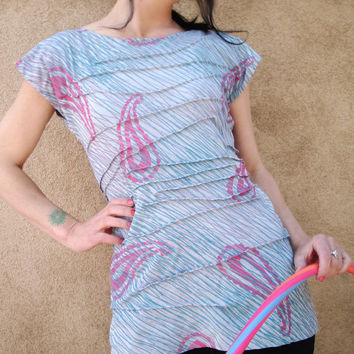 Spin Spin Sugar Top - iheartfink Original Wearable Art Top, Artist Made Silky Rayon Top, Hand Printed Paisley Jersey Tee