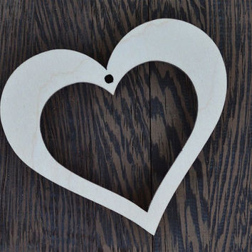 Wooden Heart Silhouette, Ornament, Embellishment, Birch Plywood, Hollow Heart, cutout  - 1132