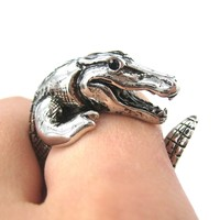 Large Crocodile Alligator Dragon Animal Wrap Around Hug Ring in Shiny Silver | Size 4 to 9