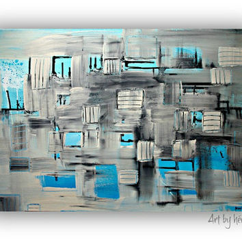 Modern Blue abstract art  - Original Grey Abstract painting on 24x36 READY TO HANG by heroux,