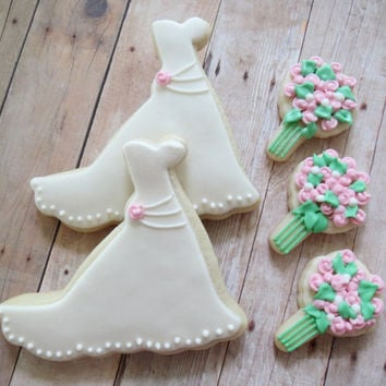 Wedding Dress and Bouquet Cookies