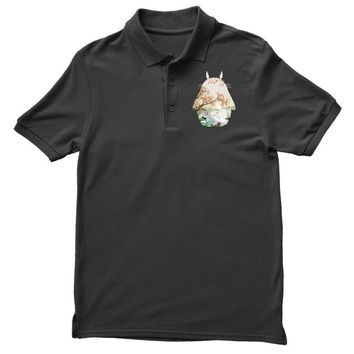 Totoro With Japanese Landscape Polo Shirt