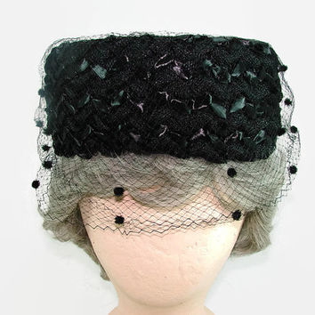 Vintage Black Woven Pillbox Hat Braided Raffia Straw Hat with Netting and Pom Poms