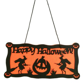 Happy Halloween Tag Sign Felt Pumpkin and Witch Pendant Sign Haunted House Props for Fireplace Door Window Decoration