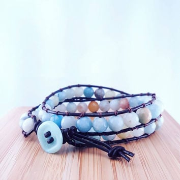 "Aqua gemstone wrap bracelet // fasceted amazonite // double wrap // genuine leather // ""Chan Luu"" inspired"