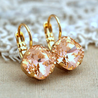 Peach Gold Drop earrings, Swarovski earrings, light peach drop earrings, Bridesmaids  jewelry, bridesmaids gifts -14k thick gold plated