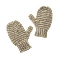 Striped Knit Alpaca Baby Mittens