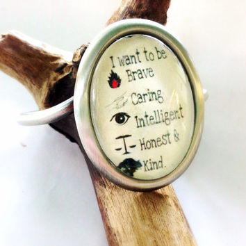 "Divergent-Inspired "" I want to be brave""  Quote Glass And Silver Steel Cuff Bracelet Graduation Gift"