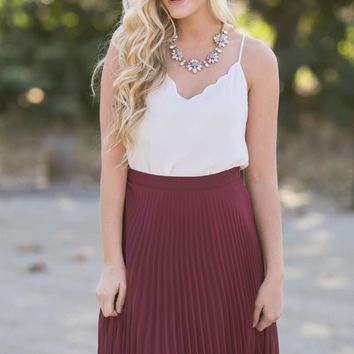 Petite Camille Burgundy Pleated Midi Skirt