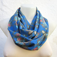 infinity scarf Loop scarf Neckwarmer Necklace scarf Fabric  Chiffon Scarf   Blue Pink Yellow