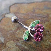 Pretty Pink Cherries Crystal Belly Button Ring