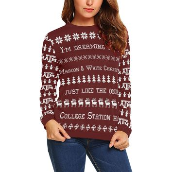 College Station University Women's Ugly Christmas Sweater Sweatshirt; 6 variants available