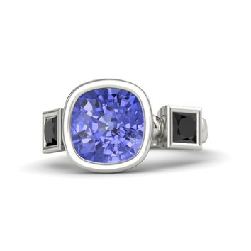 Cushion Tanzanite Platinum Ring with Black Diamond