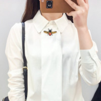 Fashion White bee embroidery Long Sleeve Shirt