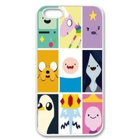 Apple iPhone 5 Adventure Time Collage Beemo Jake Finn Lumpy Gang Crew SLIM WHITE Sides Case Cover Skin Mobile Phone Accessory Faceplate Retro Vintage Comes in Case Cartel Packaging