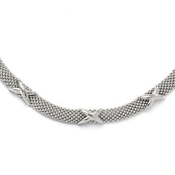 Leslie's Sterling Silver Polished Mesh Necklace QLF319