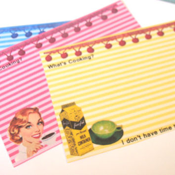 Recipe Cards - Set Of 12 - Retro Housewives - !950's Cards - Mid Century Recipe Cards - Sarcastic Housewives Cards