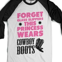 This Princess Wears Cowboy Boots (baseball)-White/Black T-Shirt