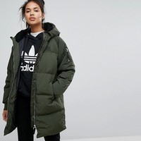 Adidas Originals Long Bomber Jacket In Khaki at asos.com