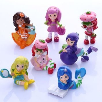 7pcs Strawberry Shortcake Cupcake Cake Toppers PVC Figure Doll Mini Girls Boys Toys Cute Toys Set