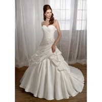 Satin Sweetheart Neckline with A-Line Gown and Pick-up Skirt with Chapel Train 2012 Strapless Wedding Dress - Basadress.com