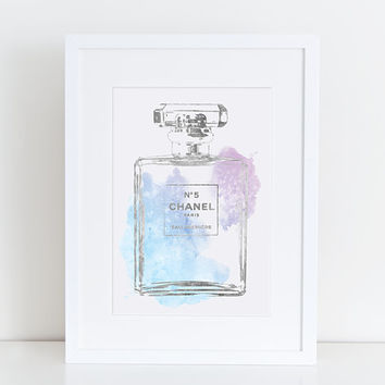 Chanel No5 print A4 8.5x11 pastel watercolor silver effect Digital file Instant download Coco Chanel no5 Chanel poster Chanel Art Printable