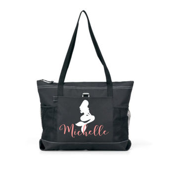 Mermaid Bridesmaid tote bag, beach tote, Tote with zipper, personalized bag, wedding party totes, Bridesmaid gift, monogrammed bag, summer